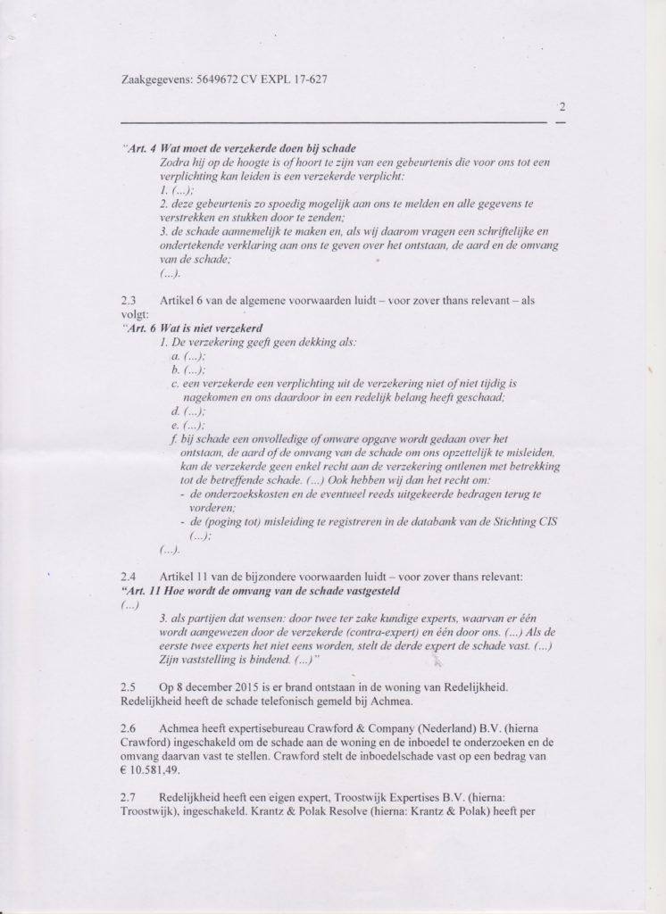 vonnis blad 2 Verzekeraar beschuldigt gedupeerde ten onrechte van fraude