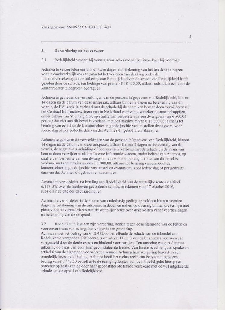vonnis blad 4 Verzekeraar beschuldigt gedupeerde ten onrechte van fraude