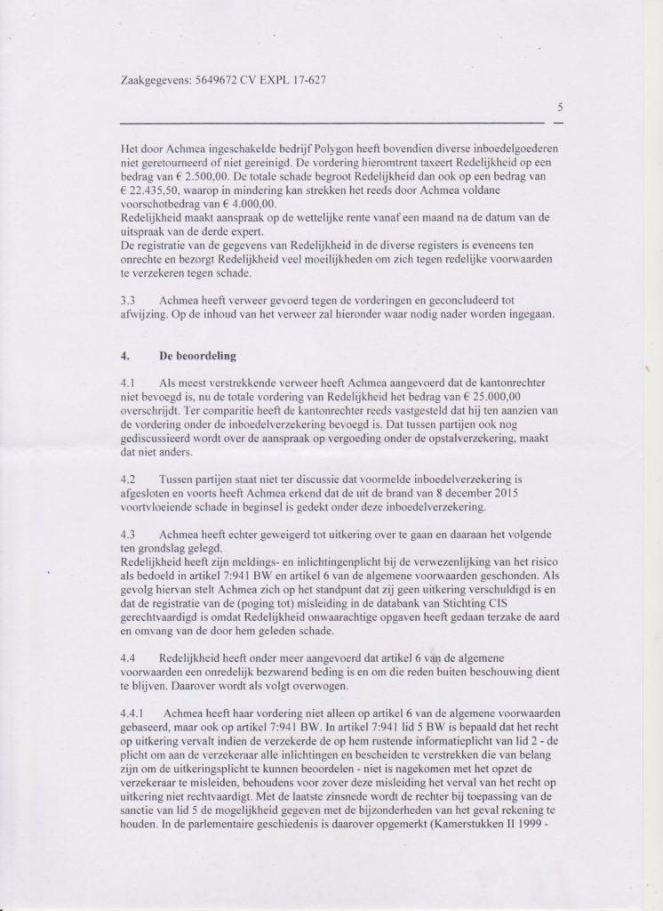vonnis blad 5 Verzekeraar beschuldigt gedupeerde ten onrechte van fraude