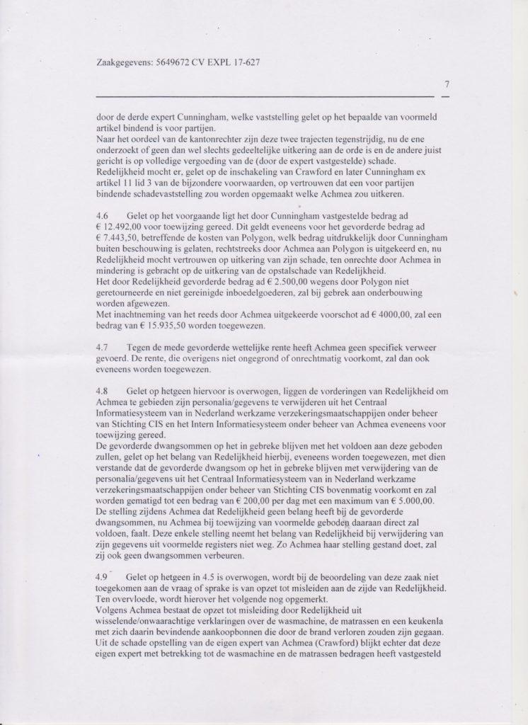 vonnis blad 7 Verzekeraar beschuldigt gedupeerde ten onrechte van fraude