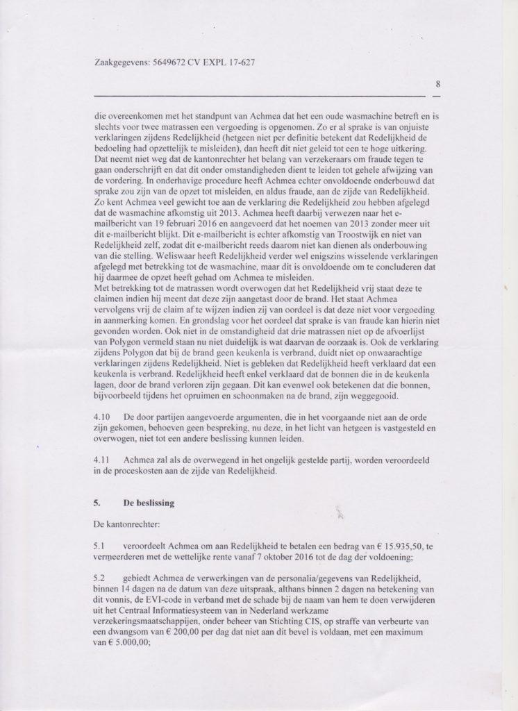 vonnis blad 8 Verzekeraar beschuldigt gedupeerde ten onrechte van fraude